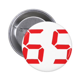 65 sixty-five red alarm clock digital number 2 inch round button