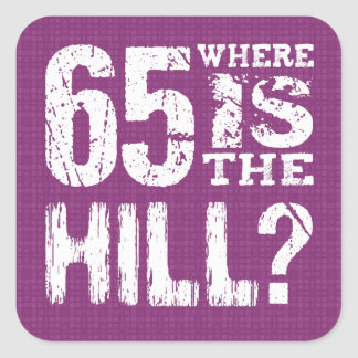 65 Where Is The Hill Funny 65th Birthday PU65Z Square Sticker