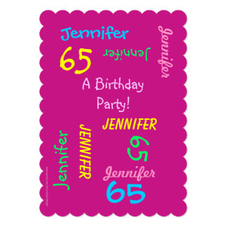 65 Years Young Hot Pink Birthday Party Invitation