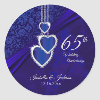 65th / 45th Sapphire Wedding Anniversary Design Classic Round Sticker