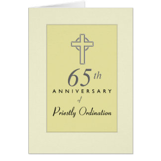 65th Anniversary of Priest with Embossed Cross, Re Card