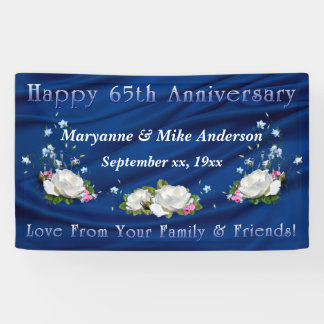 65th Anniversary White Roses and Bluebells Banner