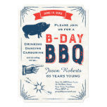 "65th Birthday BBQ Party All American Vintage 5"" X 7"" Invitation Card"