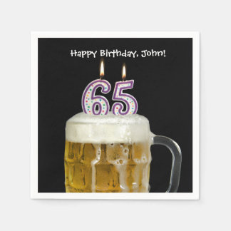 65th birthday beer disposable napkins