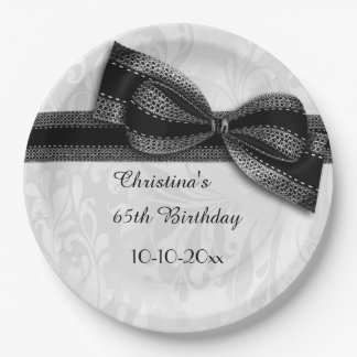 65th Birthday Black Damask and Faux Bow 9 Inch Paper Plate