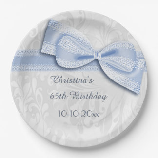 65th Birthday Blue Damask and Faux Bow 9 Inch Paper Plate