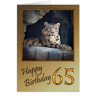 65th Birthday Card with a snow leopard