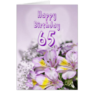 65th Birthday card with alstromeria lily flowers