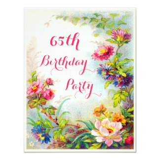 "65th Birthday Dahlias and Peonies Victorian Garden 4.25"" X 5.5"" Invitation Card"