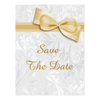 65th Birthday Damask and Faux Bow Save The Date Postcard