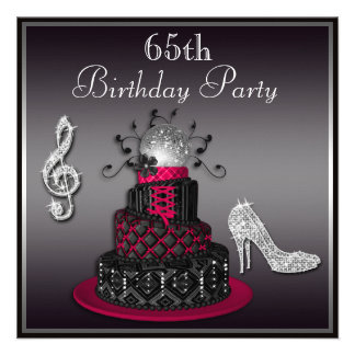 65th Birthday Disco Diva Cake and Heels Hot Pink Personalized Announcement