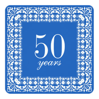 65th Birthday Elegant Blue and White Party Invites