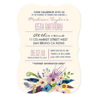 "65th Birthday Elegant Bouquet 5"" X 7"" Invitation Card"