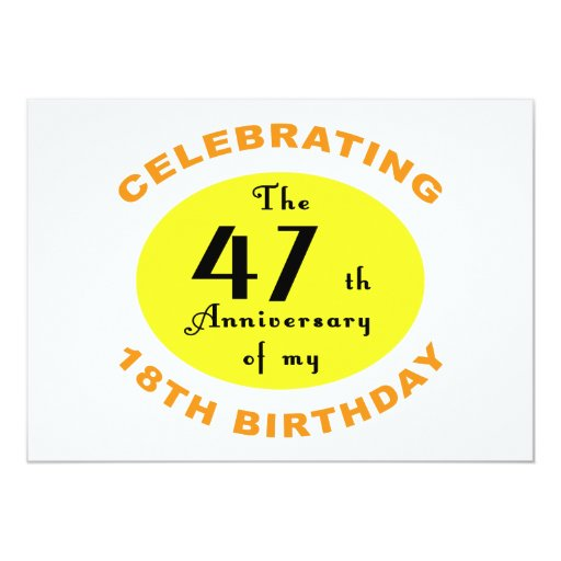"65th Birthday Gag Gift 5"" X 7"" Invitation Card"