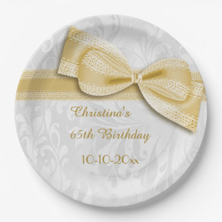 65th Birthday Gold Damask and Faux Bow 9 Inch Paper Plate