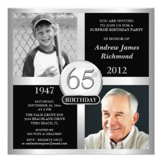65th Birthday Invitations Then Now Photos