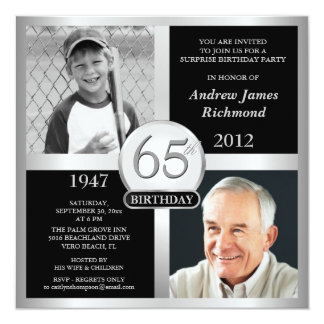 65th Birthday Invitations Then & Now Photos