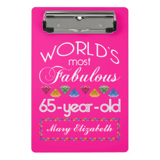 65th Birthday Most Fabulous Colorful Gems Pink Mini Clipboard
