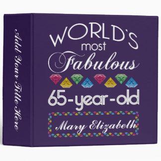 65th Birthday Most Fabulous Colorful Gems Purple Vinyl Binder