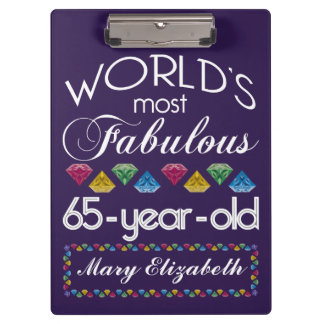 65th Birthday Most Fabulous Colorful Gems Purple Clipboard