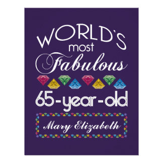65th Birthday Most Fabulous Colorful Gems Purple Personalized Letterhead