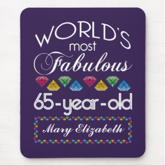 65th Birthday Most Fabulous Colorful Gems Purple Mouse Pads