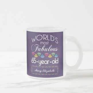 65th Birthday Most Fabulous Colorful Gems Purple Coffee Mugs