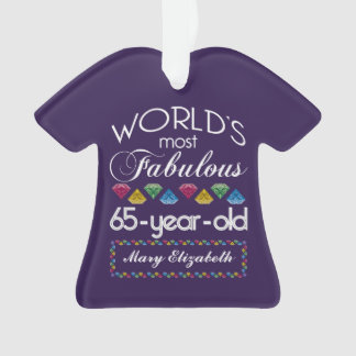 65th Birthday Most Fabulous Colorful Gems Purple Ornament