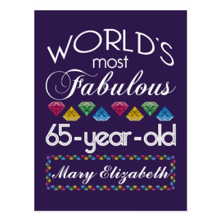 65th Birthday Most Fabulous Colorful Gems Purple Post Card