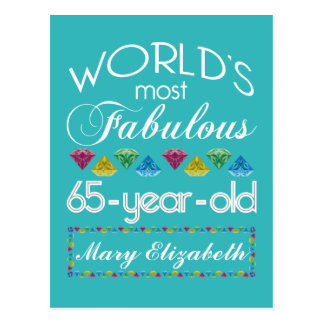 65th Birthday Most Fabulous Colorful Gems Turquois Postcard