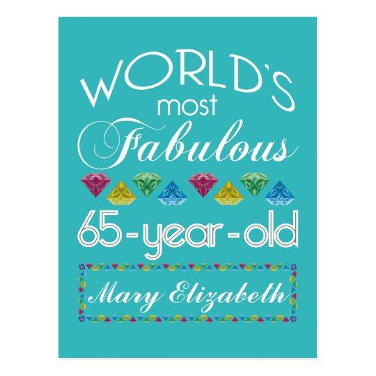 65th Birthday Most Fabulous Colourful Gems Postcard