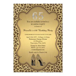 65th,Birthday Party 65th,Cheetah High Heels Shoes Card