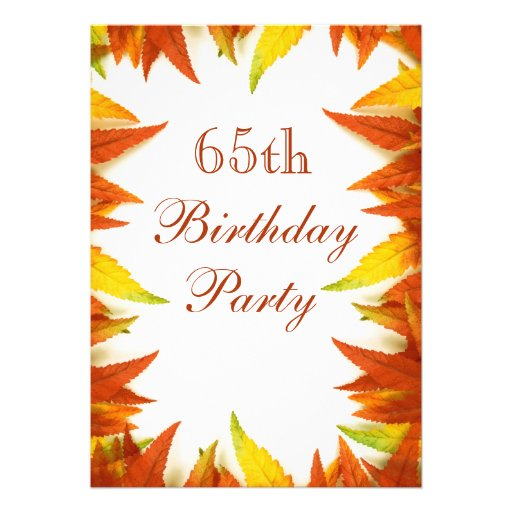 65th Birthday Party Autumn/Fall Leaves Personalized Announcement