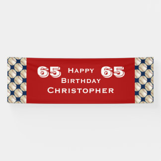65th Birthday Party Baseball Banner, Adult, Red Banner
