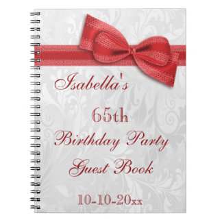 65th Birthday Party Damask and Bow Notebooks