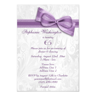 65th Birthday Party Damask and Faux Bow Magnetic Card