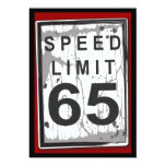 """65th Birthday Party Grungy Speed Limit Sign 5"""" X 7"""" Invitation Card"""