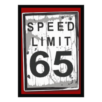65th Birthday Party Grungy Speed Limit Sign Invitations