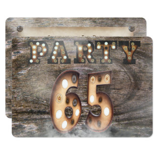 65th birthday party in marquee lights card