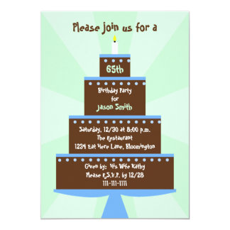 65th Birthday Party Invitation Cake on Green