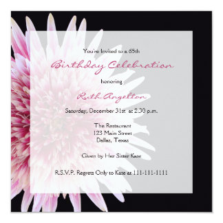 65th Birthday Party Invitation Gerbera Daisy