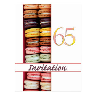 65th Birthday party invitation macaron Postcard