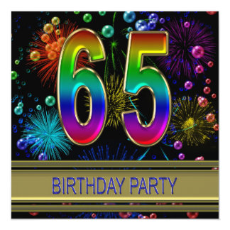 65th Birthday party Invitation with bubbles