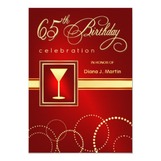 65th Birthday Party Invitations - Ruby Red & Gold
