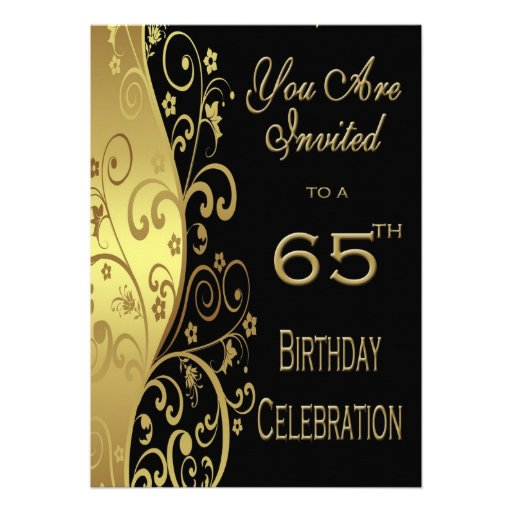 65th birthday party personalized invitation zazzle for 65th birthday party decoration ideas