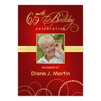 65th Birthday Party Photo Invitations Elegant Red