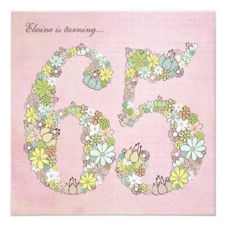 65th Birthday Party Pink Blooms Custom Invitation