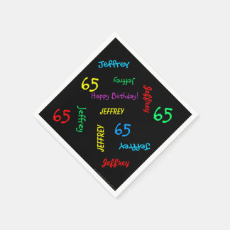 65th Birthday Party Repeating Names, Black Paper Paper Napkin