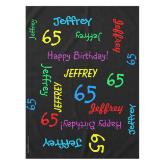 65th Birthday Party, Repeating Names, Black Tablecloth