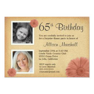 "65th Birthday Party Rustic Daisy 2 Photo Invites 5"" X 7"" Invitation Card"